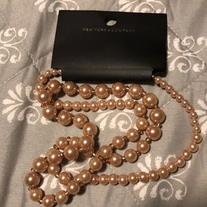 New York & Company Rose Gold Pearl Necklace